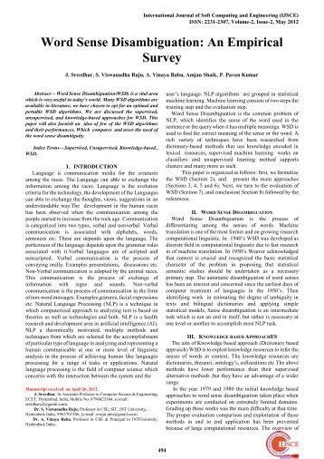 Word Sense Disambiguation: An Empirical Survey - International ...