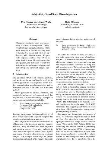 Subjectivity Word Sense Disambiguation - Department of Computer ...