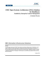 EMC Open Systems Architecture (OSA) Solution for Healthcare ...