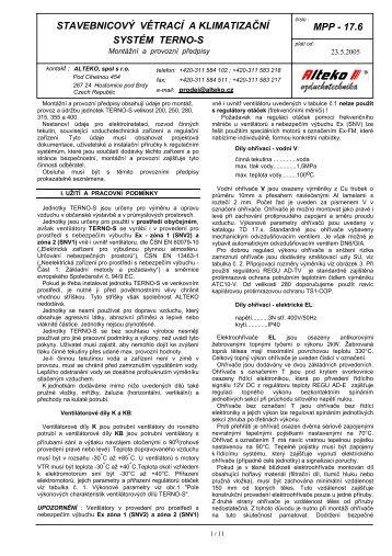 TERNO-S stavebnicový větrací a klimatizační systém ... - ALTEKO