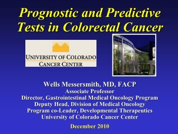 Prognostic and Predictive Tests in Colorectal Cancer - University of ...