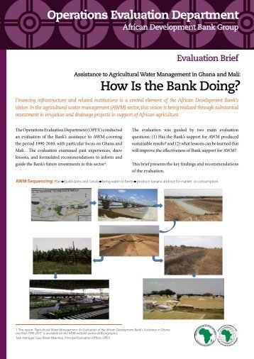 OPEV's Evaluation of the Bank's Assistance to Agricultural Water ...