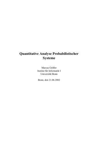 Quantitative Analyse Probabilistischer Systeme