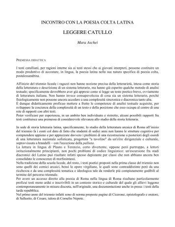 LEGGERE CATULLO - Loescher Editore