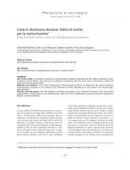 fattori di rischio per la malocclusione