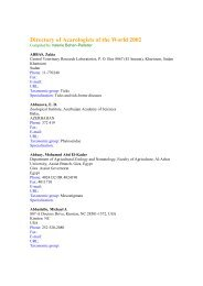 Directory of Acarologists of the World 2002 - Natural History Museum