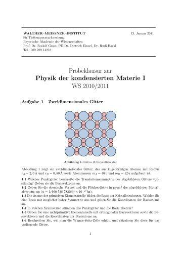 Probeklausur zur Physik der kondensierten Materie I WS 2010/2011