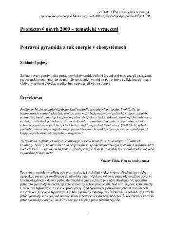 Projektový návrh 2009 – tematické vymezení ... - Naucnastezka.cz