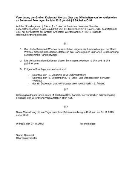 Verordnung der Großen Kreisstadt Werdau über das Offenhalten ...