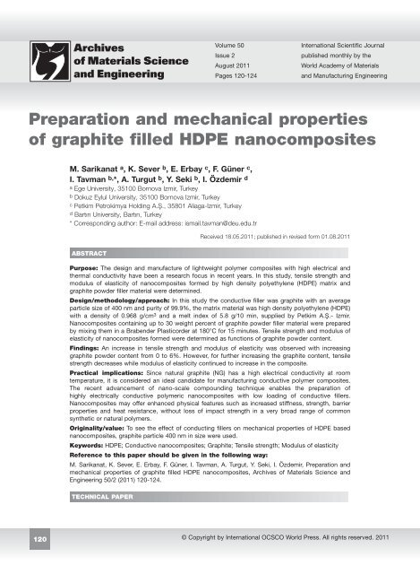 Preparation and mechanical properties of graphite filled
