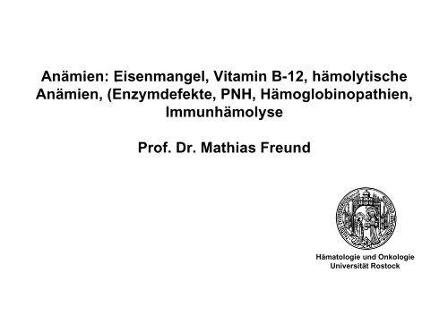 Eisenmangel, Vitamin B-12, hämolytische Anämien - Hämatologie ...