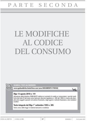 LE MODIFICHE AL CODICE DEL CONSUMO - Il Sole 24 Ore