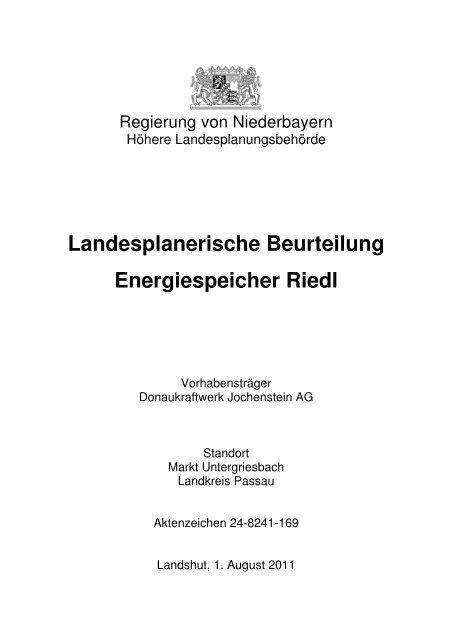 Landesplanerische Beurteilung Energiespeicher Riedl