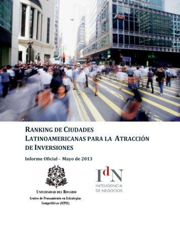 RANKING CIUDADES LATINOAMERICANAS ATRACCIÓN INVERSIONES