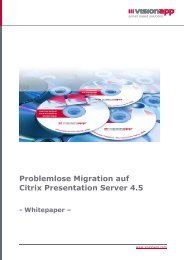 Problemlose Migration auf Citrix Presentation Server 4.5 - visionapp