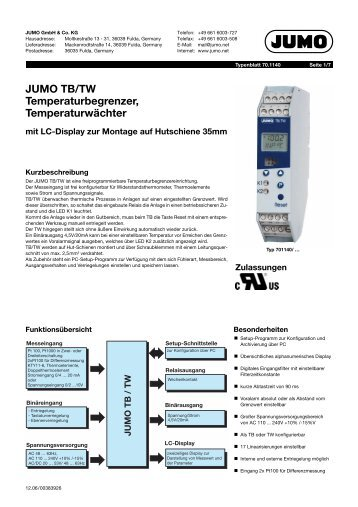 Typenblatt (Deutsch) - Jumo GmbH & Co. KG