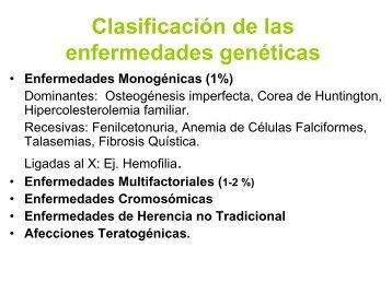 Clasificación de las enfermedades genéticas