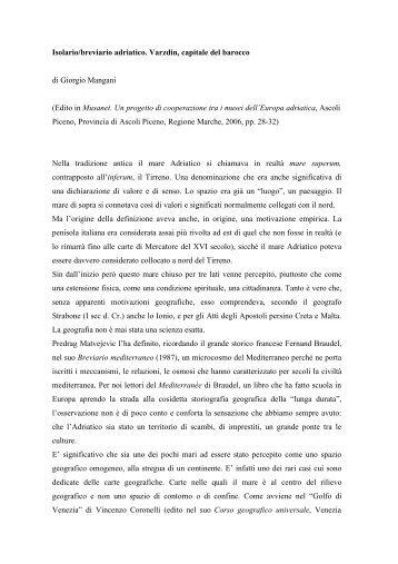Isolario adriatico - Giorgio Mangani consulente editoriale