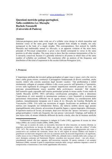 Questioni metriche galego-portoghesi. Sulla cosiddetta ... - Ars Metrica