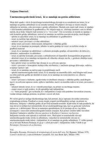 Tatjana Omerzel: Umetnostnozgodovinski izrazi, ki se ... - Lexicool