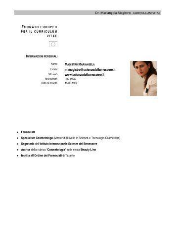 Dr. Mariangela Magistro - CURRICULUM VITAE m ... - Esthetica