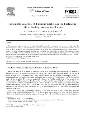 Stochastic volatility of financial markets as the fluctuating rate of ...