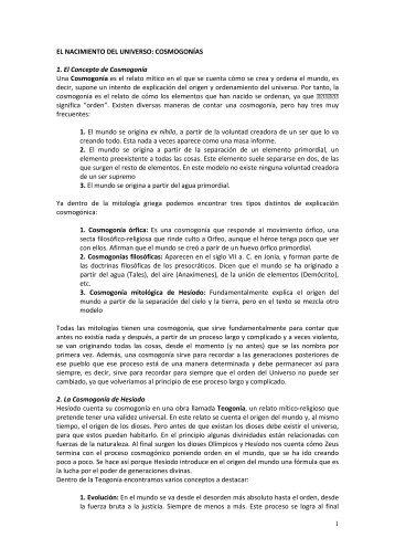 COSMOGONÍAS 1. El Concepto de Cosmogonía Una Cosmogonía ...
