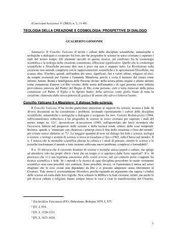 TEOLOGIA DELLA CREAZIONE E COSMOLOGIA: PROSPETTIVE ...