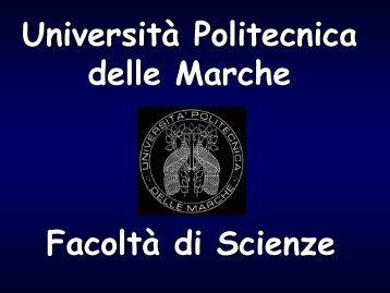 Crediti a scelta - Scienze - Università Politecnica delle Marche