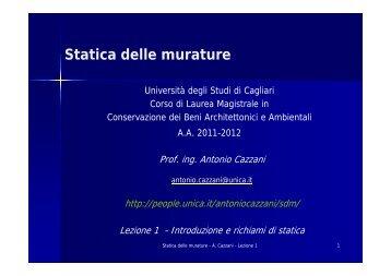 Statica delle murature - I blog di Unica - Università degli studi di ...