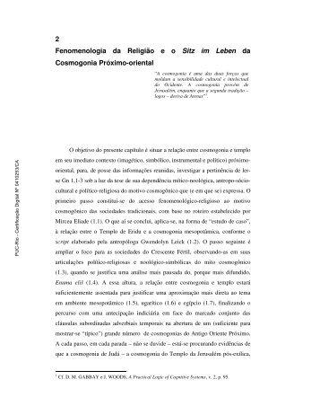 2 Fenomenologia da Religião e o Sitz im Leben da Cosmogonia ...