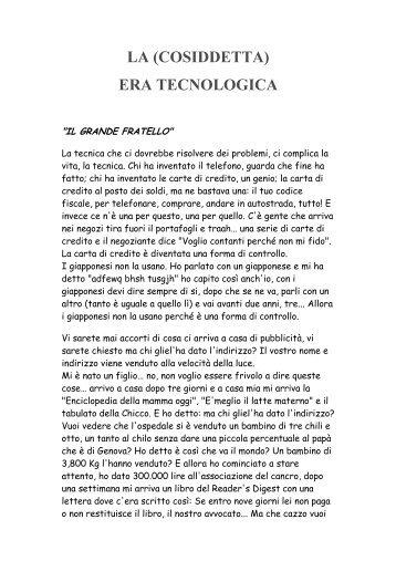 LA (COSIDDETTA) ERA TECNOLOGICA - Manuscritto.it