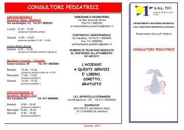 Orari di apertura e attività consultori pediatrici - ASL TO 1