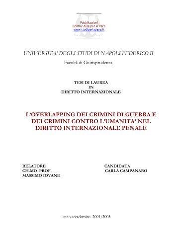 L'OVERLAPPING DEI CRIMINI DI GUERRA E ... - Studi per la pace