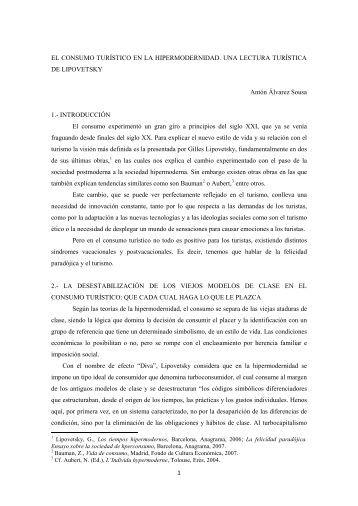 EL CONSUMO TURÍSTICO EN LA HIPERMODERNIDAD