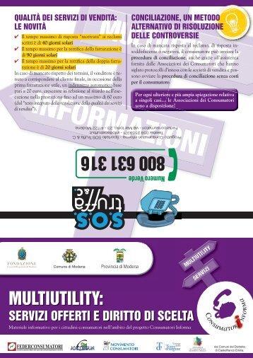 Multiutility: servizi offerti e diritto di scelta - sos truffa