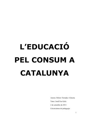 l'educació pel consum a catalunya - D U G i docs