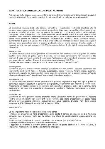 Caratteristiche merceologiche degli alimenti - Sicurezza Alimentare ...
