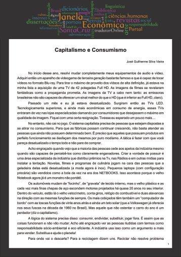 Capitalismo e Consumismo - Faculdades Santa Cruz
