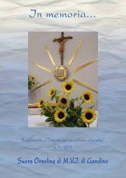In memoria... 2009-2010 - Suore Orsoline di Gandino