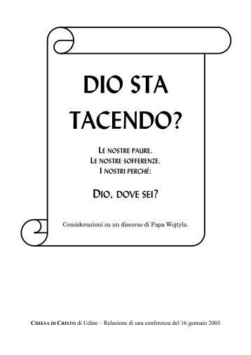 Dio sta tacendo? - Home Page - Chiesa di Cristo Udine