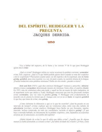 DEL ESPIRITU. HEIDEGGER Y LA PREGUNTA - Derrida.pdf - Armario