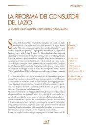 LA RIFORMA DEI CONSULTORI DEL LAZIO - Volontariato Lazio
