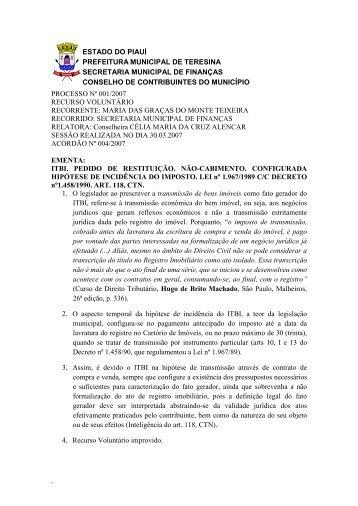 acórdão 2007/04 - Prefeitura Municipal de Teresina