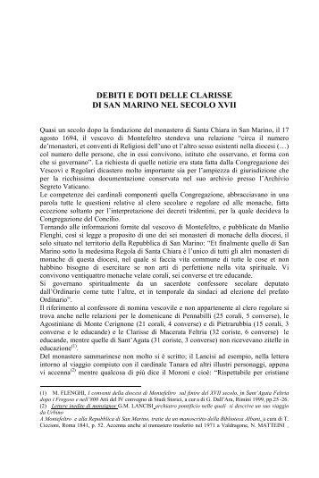 Debiti e doti delle Clarisse di San Marino nel secolo XVII Gian ...