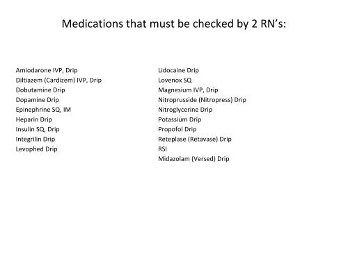 Medications That Must Be