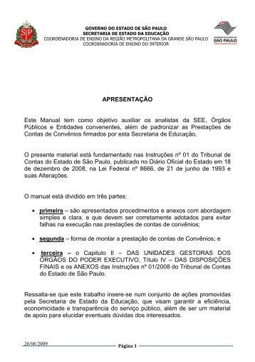 Manual de Prestação de Contas, Convênios e Transportes