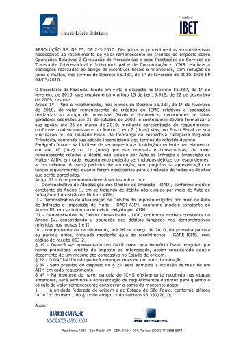 Apoio: RESOLUÇÃO SF. Nº 23, DE 2-3-2010: Disciplina os ... - IBET