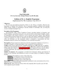 Goa University Syllabus of M. A. (English) Programme Implemented ...