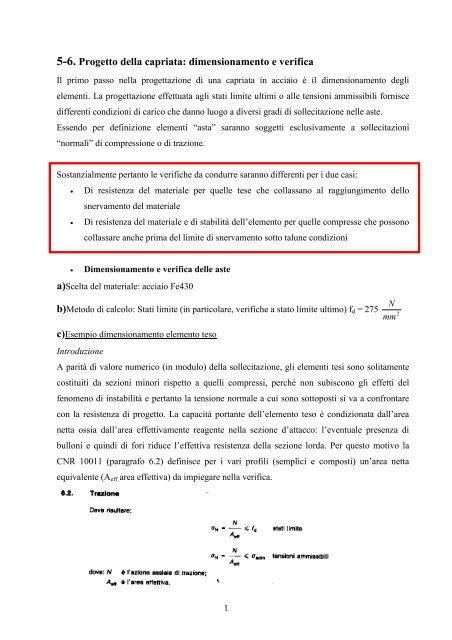 Verifica Stato Limite Ultimo.5 6 Progetto Della Capriata Dimensionamento E Verifica Dicat